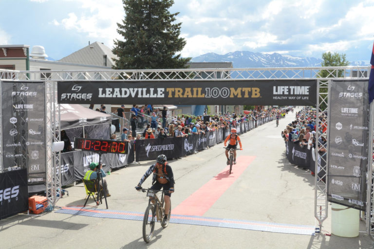 Eric Hinman finishing the Leadville Trail 100 MTB race